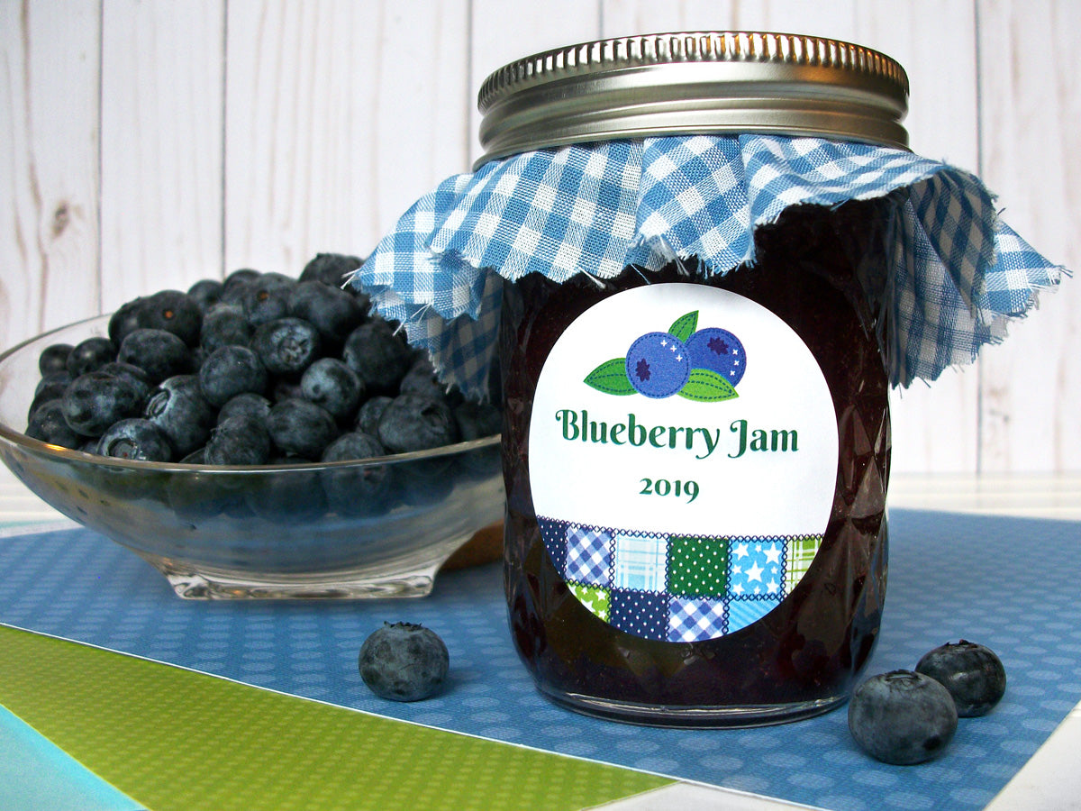 Country Quilt Blueberry Jam Mason Canning Jar Labels | CanningCrafts.com
