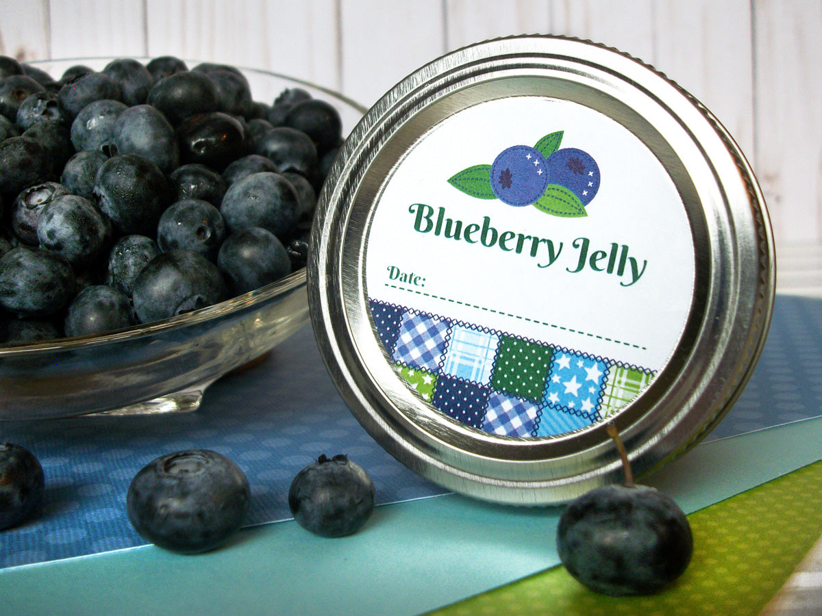 Country Quilt Blueberry Jelly Canning Labels | CanningCrafts.com