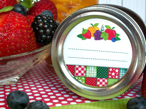 Country Quilt Fruit Canning Labels | CanningCrafts.com
