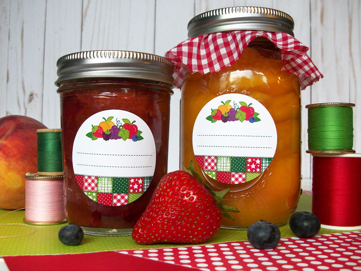Country Quilt Fruit Mason Canning Jar Labels | CanningCrafts.com