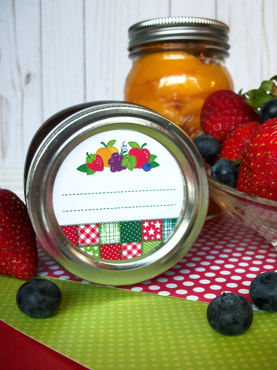 Country Quilt Fruit Canning Jar Labels | CanningCrafts.com
