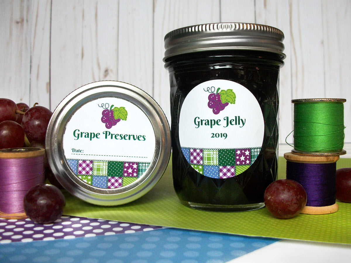 Country Quilt Grape Jelly & Preserves Canning Labels | CanningCrafts.com