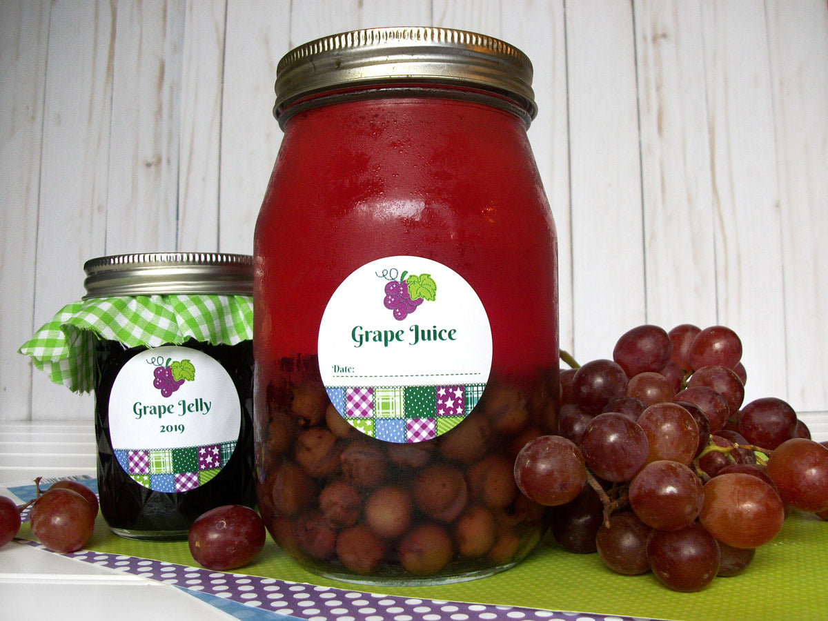 Country Quilt Grape Juice & Jelly Canning Labels | CanningCrafts.com