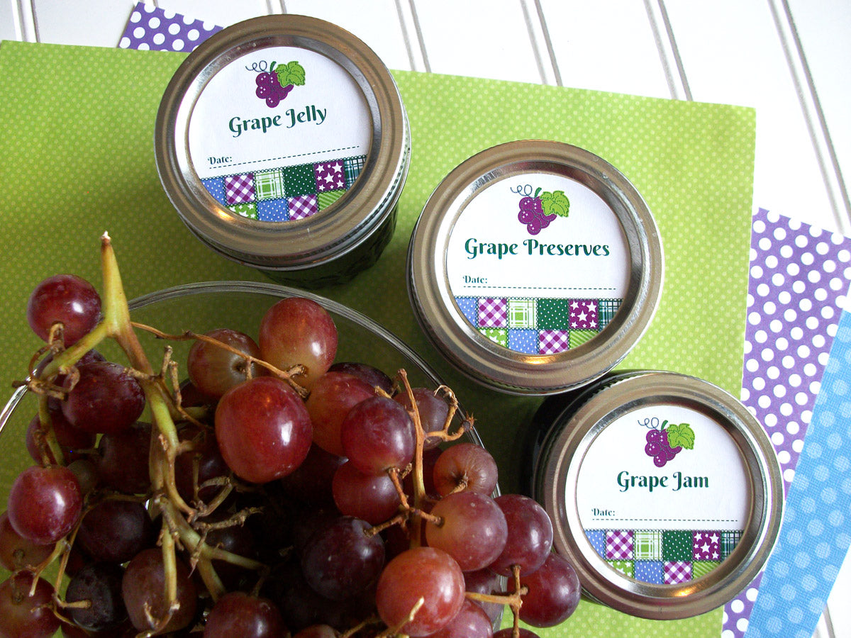 Country Quilt Grape Preserves, Jam, & Jelly Canning Jar Labels | CanningCrafts.com