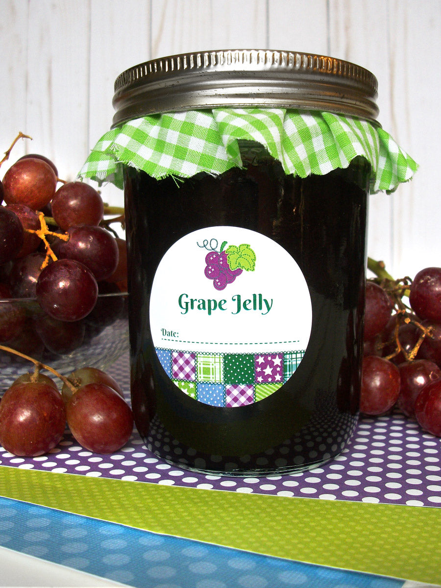 Country Quilt Grape Jelly Mason Canning Jar Labels | CanningCrafts.com