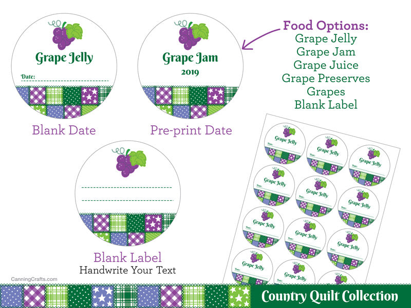 Country Quilt Grape Canning Labels | CanningCrafts.com