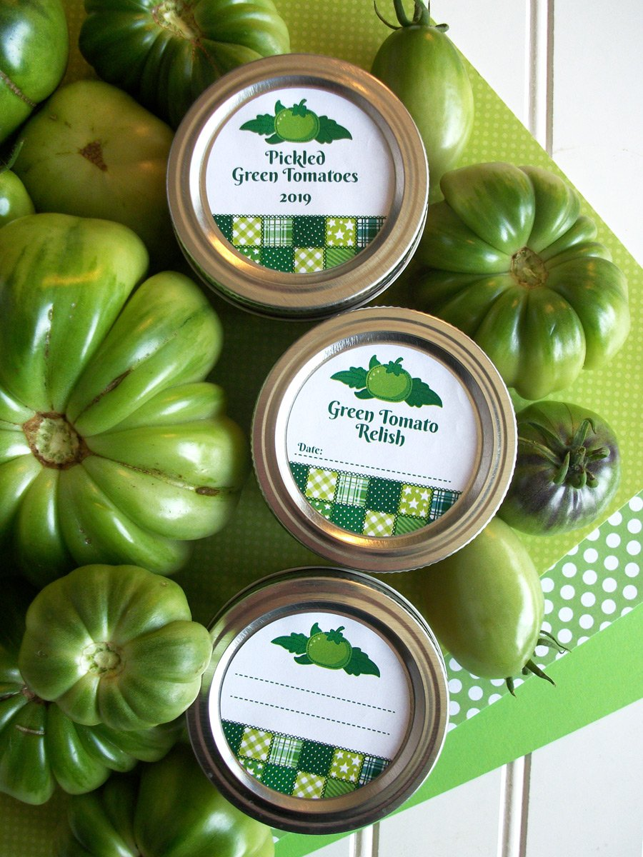 Country Quilt Pickled Green Tomato & Relish Canning Labels | CanningCrafts.com