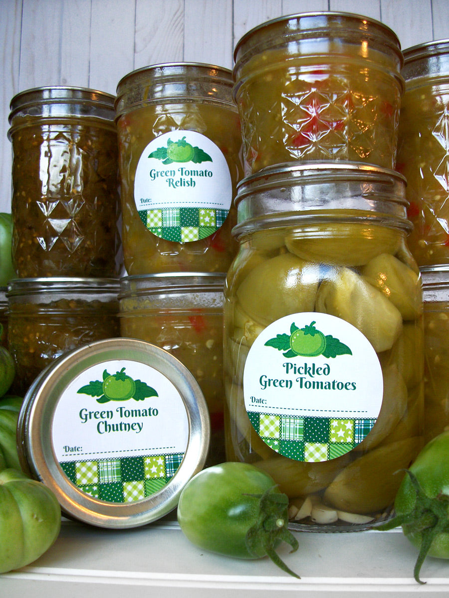 Country Quilt Pickled Green Tomato, Relish, & Chutney Canning Labels | CanningCrafts.com