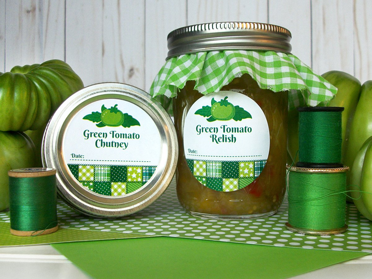 Country Quilt Pickled Green Chutney & Salsa Canning Labels | CanningCrafts.com