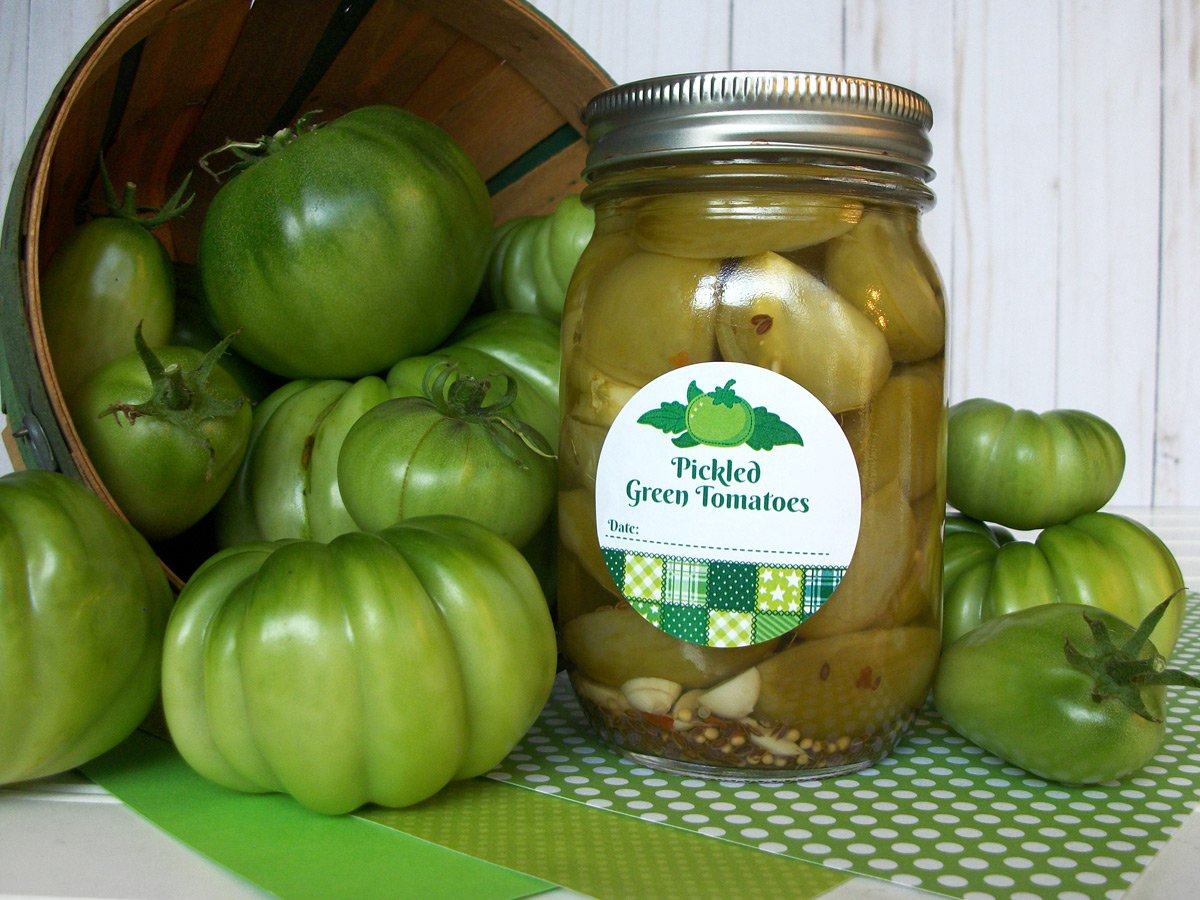 Country Quilt Pickled Green Tomato Canning Labels | CanningCrafts.com