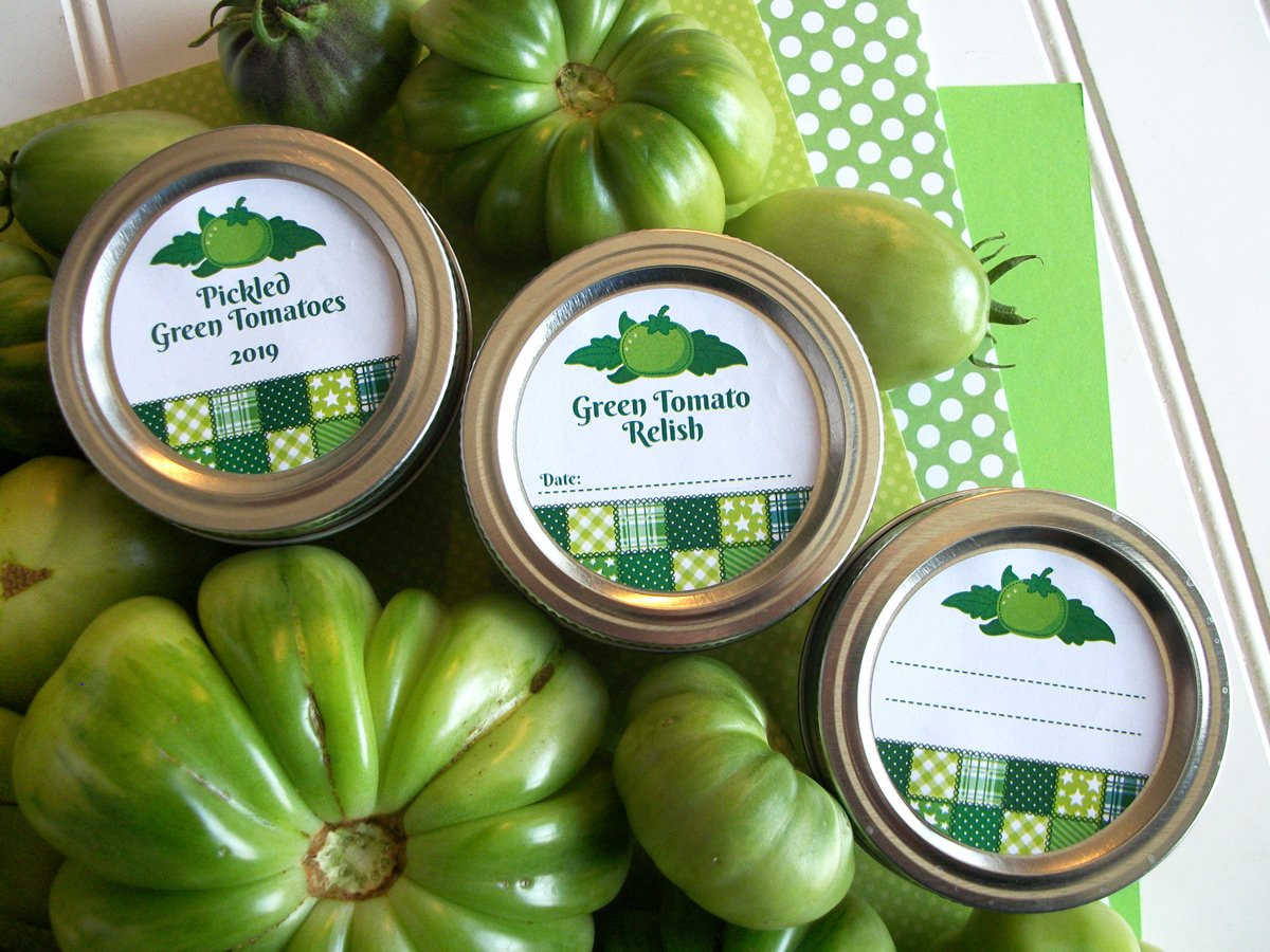 Country Quilt Pickled Green Tomato & Salsa Canning Labels | CanningCrafts.com
