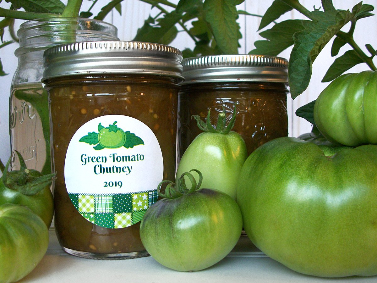 Country Quilt Green Tomato Chutney Canning Labels | CanningCrafts.com
