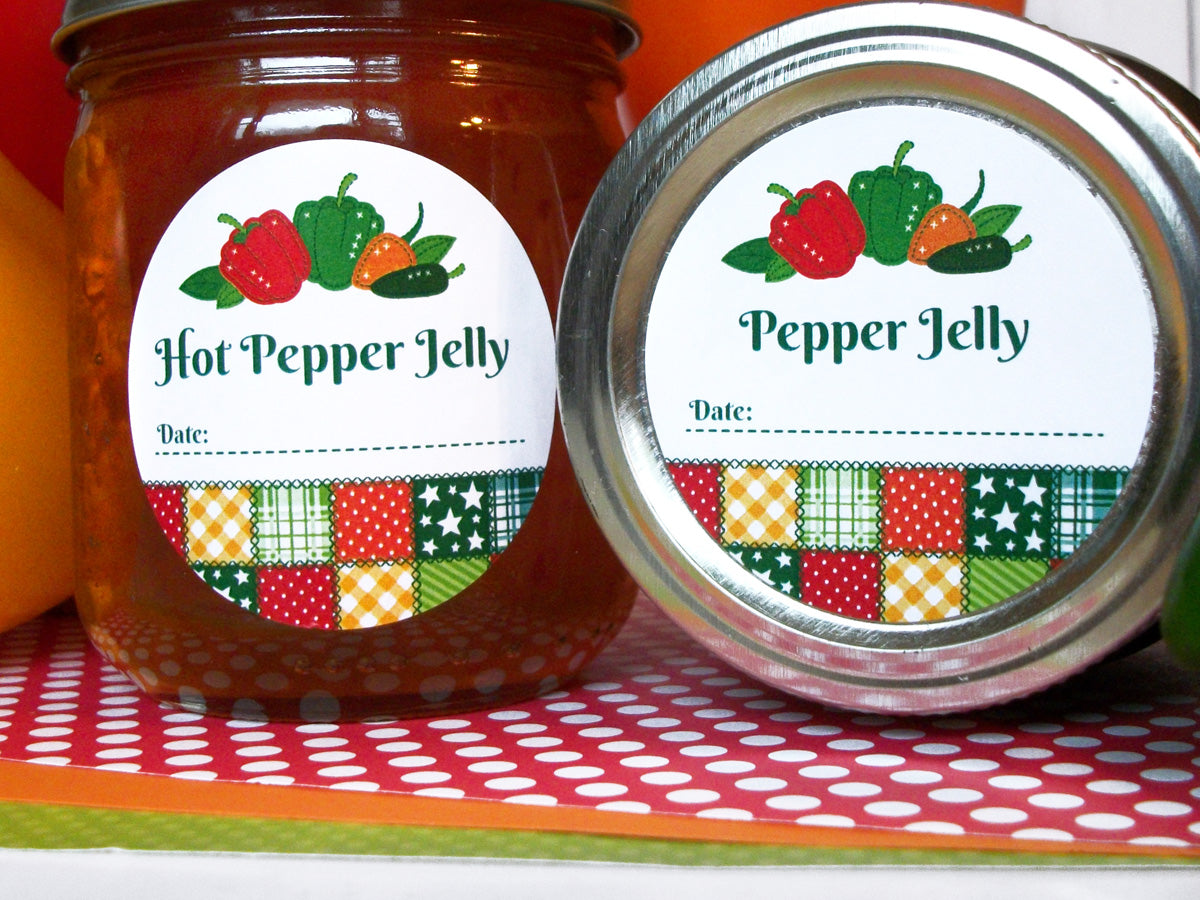 Country Quilt Hot Pepper Jelly Canning Labels | CanningCrafts.com