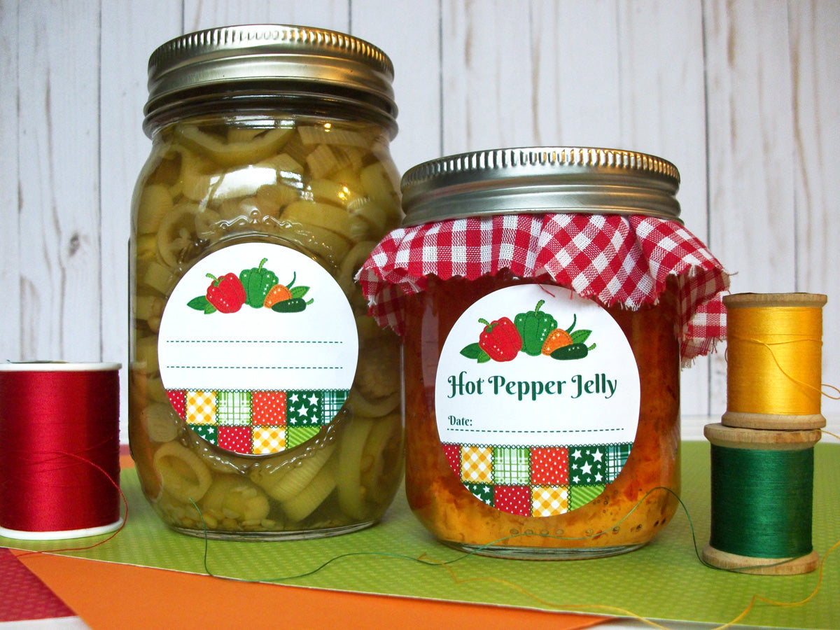 Country Quilt Hot Pepper Jelly Canning Jar Labels | CanningCrafts.com