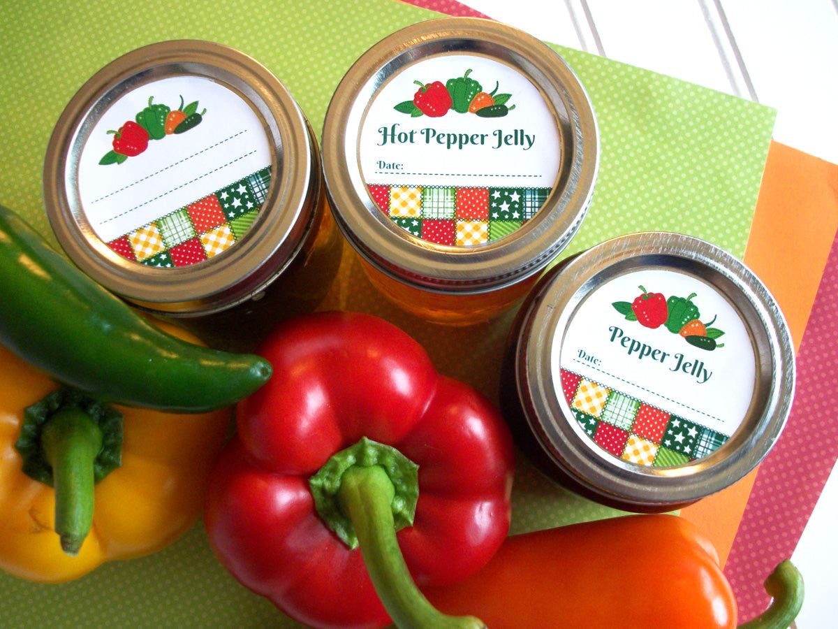 Country Quilt Hot Pepper Jelly Mason Canning Jar Labels | CanningCrafts.com