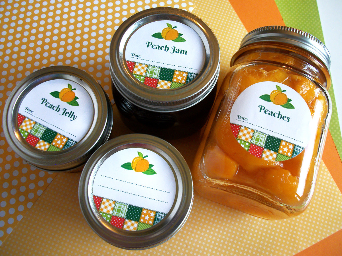 Country Quilt Peach Canning Jar Labels | CanningCrafts.com