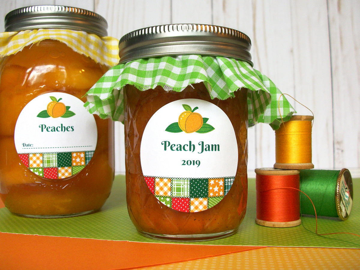 Country Quilt Peach Jam Jar Labels | CanningCrafts.com