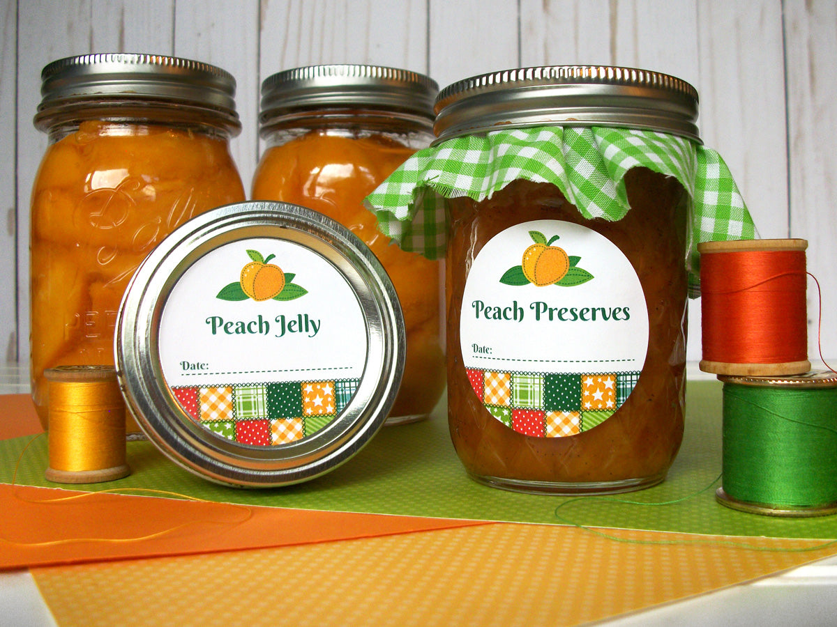 Country Quilt Peach Jelly & Preserves Canning Labels | CanningCrafts.com