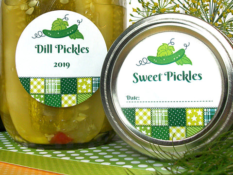 Country Quilt Dill & Sweet Pickle Canning Labels | CanningCrafts.com