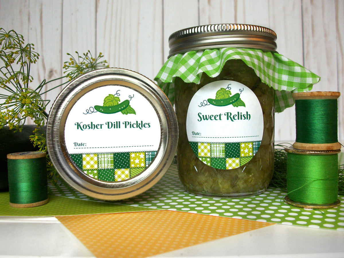 Country Quilt Kosher Dill Pickle & Sweet Relish Canning Labels | CanningCrafts.com