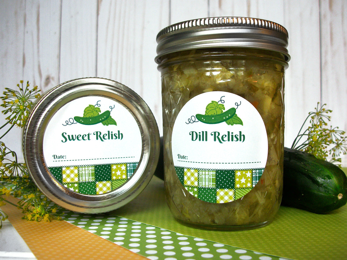Country Quilt Dill & Sweet Pickle Relish Canning Labels | CanningCrafts.com