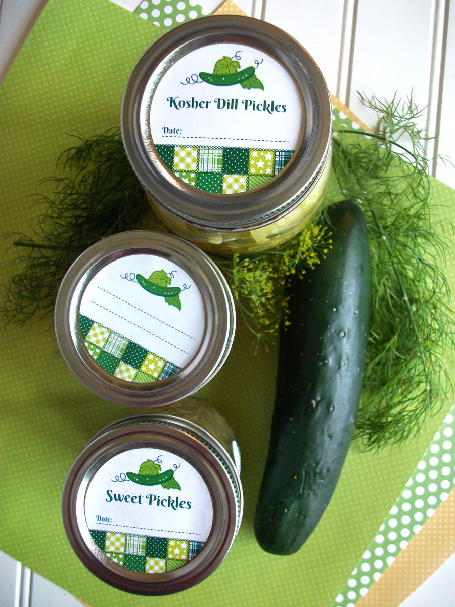 Country Quilt Dill & Sweet Pickle Canning Jar Labels | CanningCrafts.com