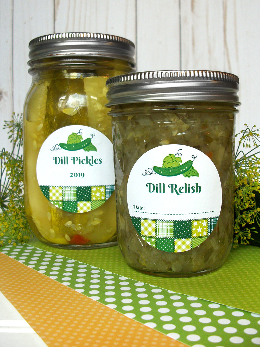 Country Quilt Dill Pickle & Relish Mason Canning Jar Labels | CanningCrafts.com