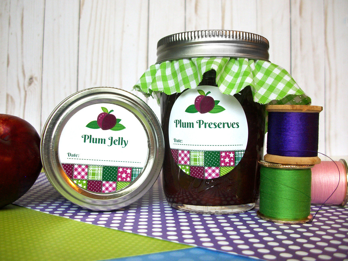 Country Quilt Plum Jelly & Preserves Canning Labels | CanningCrafts.com