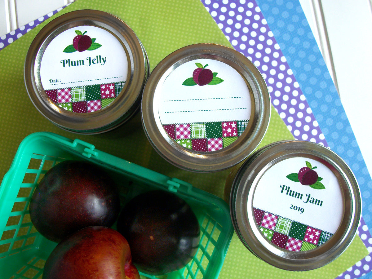 Country Quilt Plum Jam & Jelly Jar Canning Labels | CanningCrafts.com