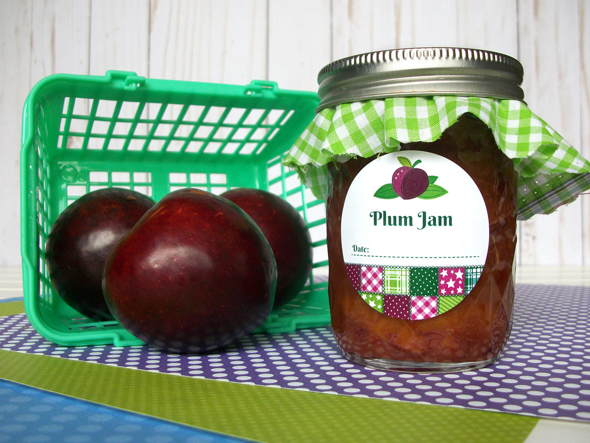 Country Quilt Plum Jam Jar Labels | CanningCrafts.com