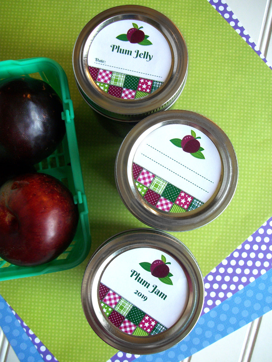 Country Quilt Plum Jam & Jelly Mason Canning Jar Labels | CanningCrafts.com