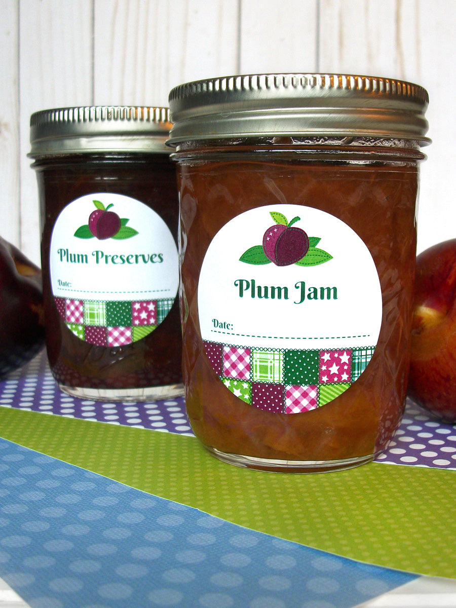 Country Quilt Plum Jam Canning Labels | CanningCrafts.com