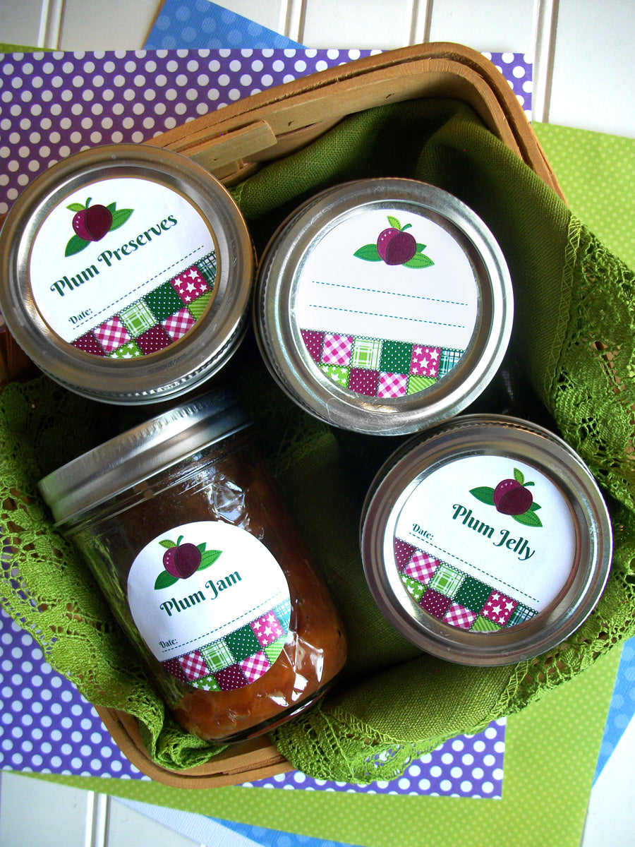 Country Quilt Plum Jam & Jelly Canning Labels | CanningCrafts.com