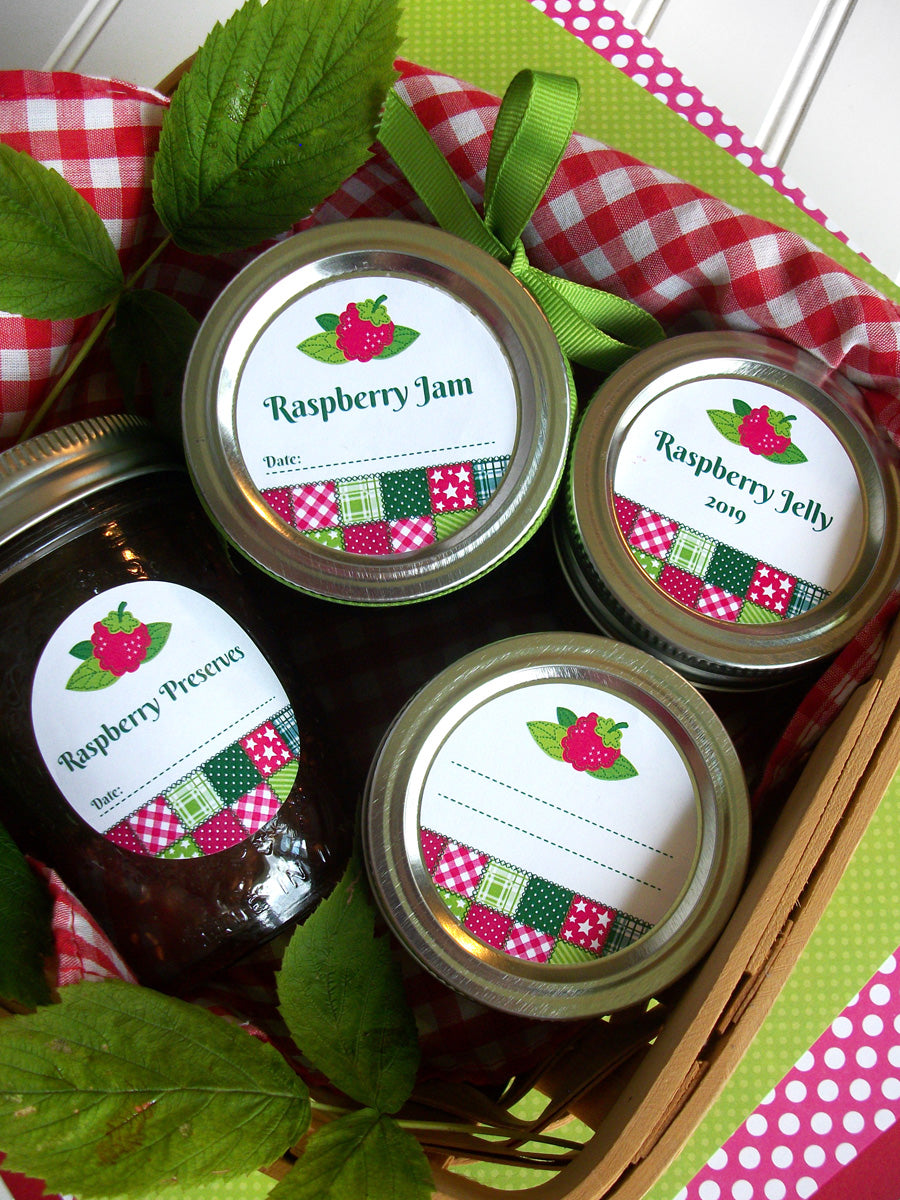 Country Quilt Raspberry Canning Labels | CanningCrafts.com