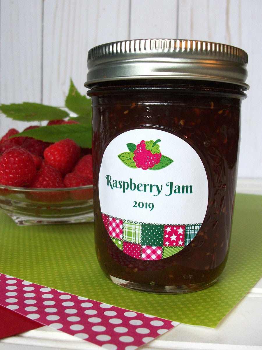 Country Quilt Raspberry Jam Jar Labels | CanningCrafts.com