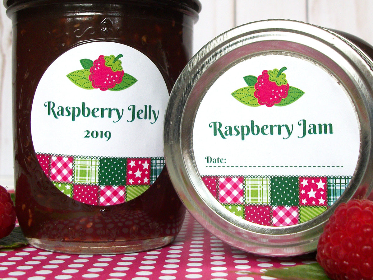 Country Quilt Raspberry Jam & Jelly Canning Labels | CanningCrafts.com