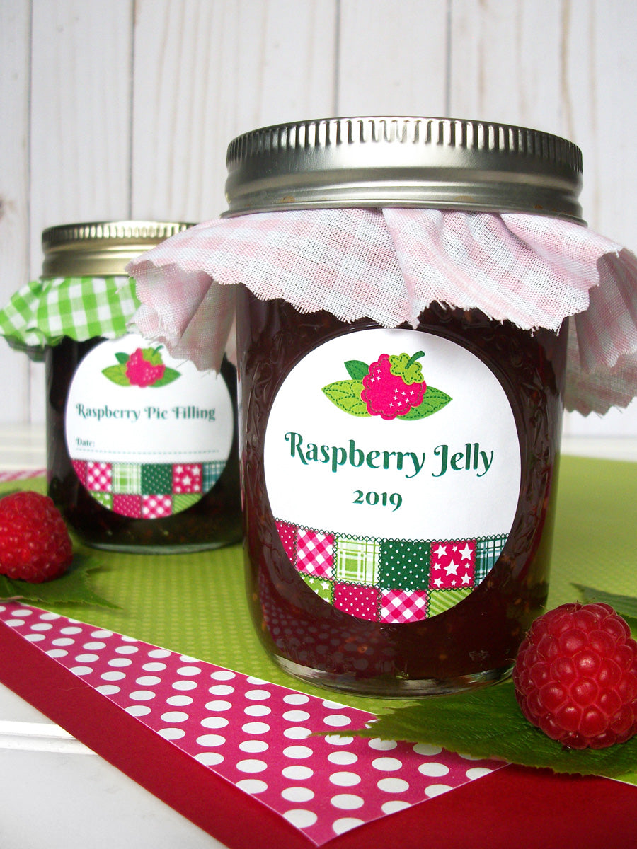 Country Quilt Raspberry Jelly Canning Labels | CanningCrafts.com