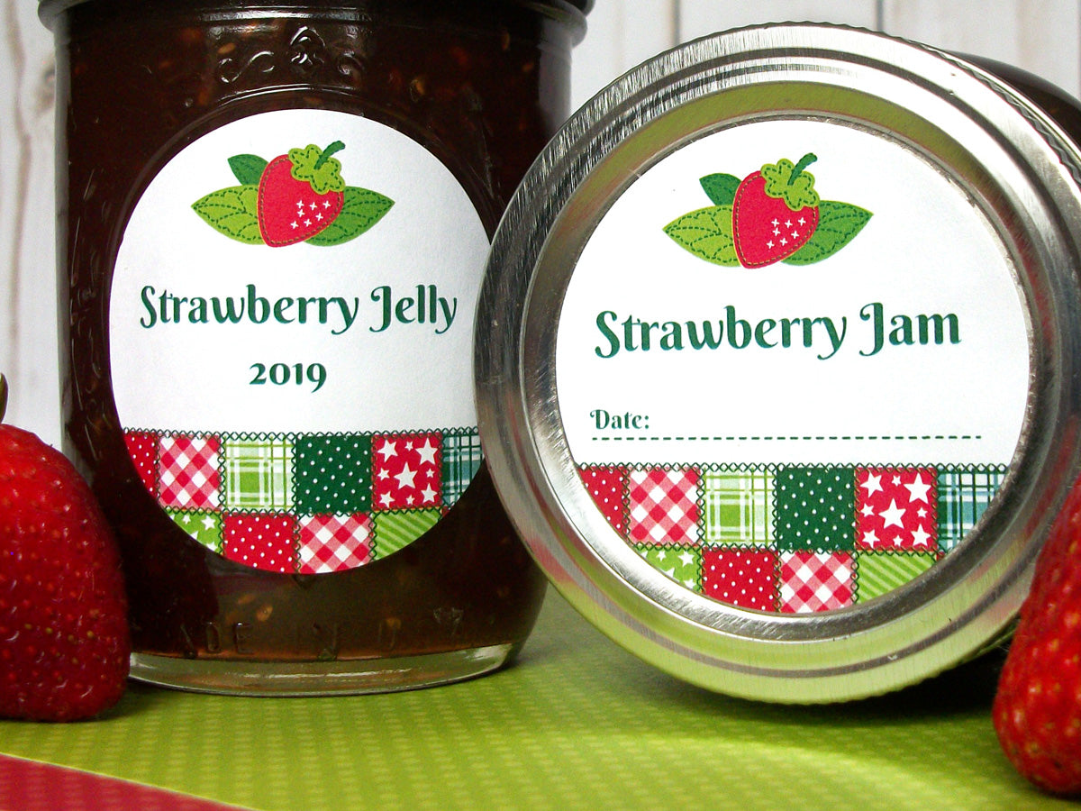 Country Quilt Strawberry Jam & Jelly Canning Labels | CanningCrafts.com