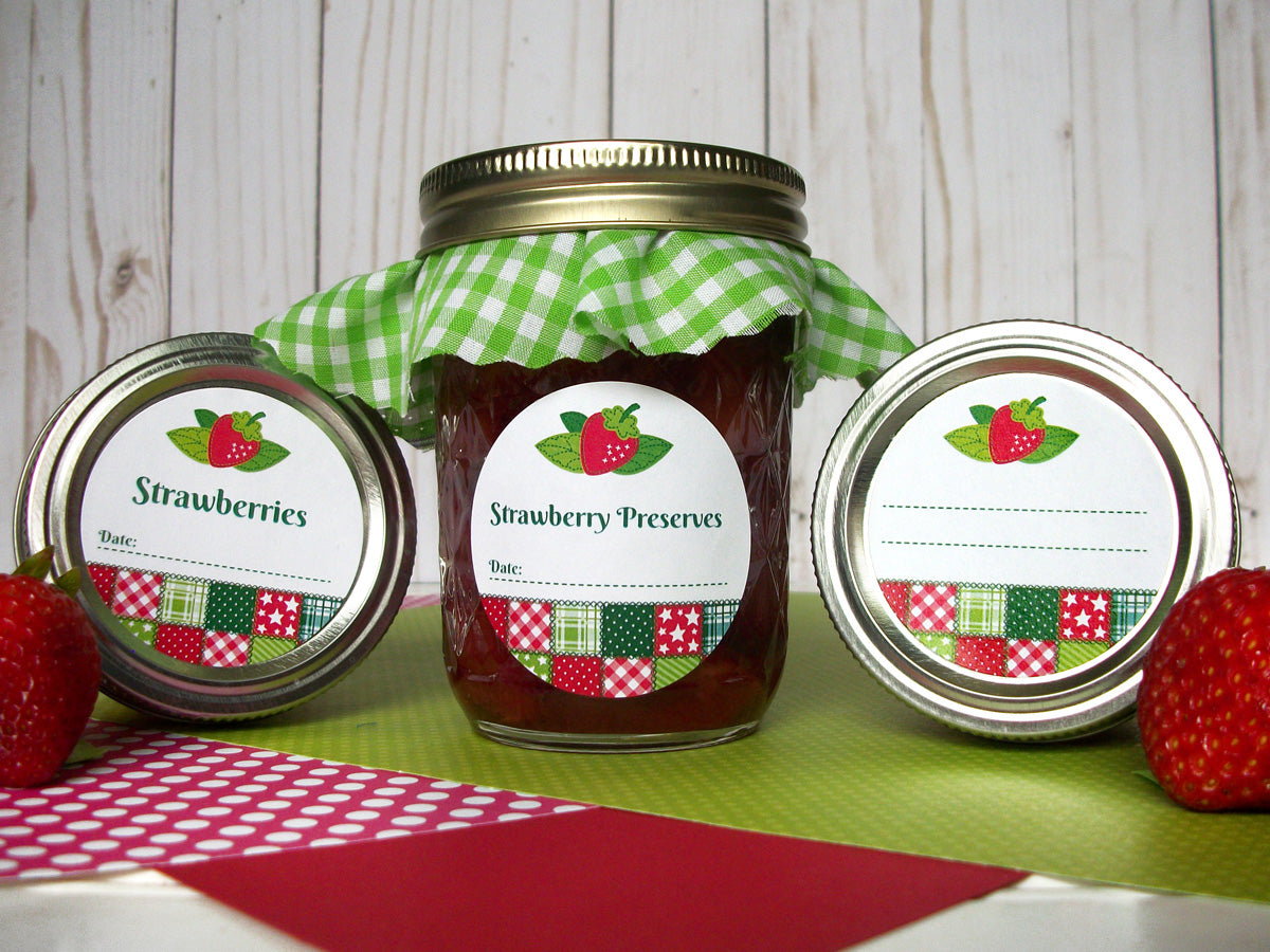 Country Quilt Strawberry Canning Labels