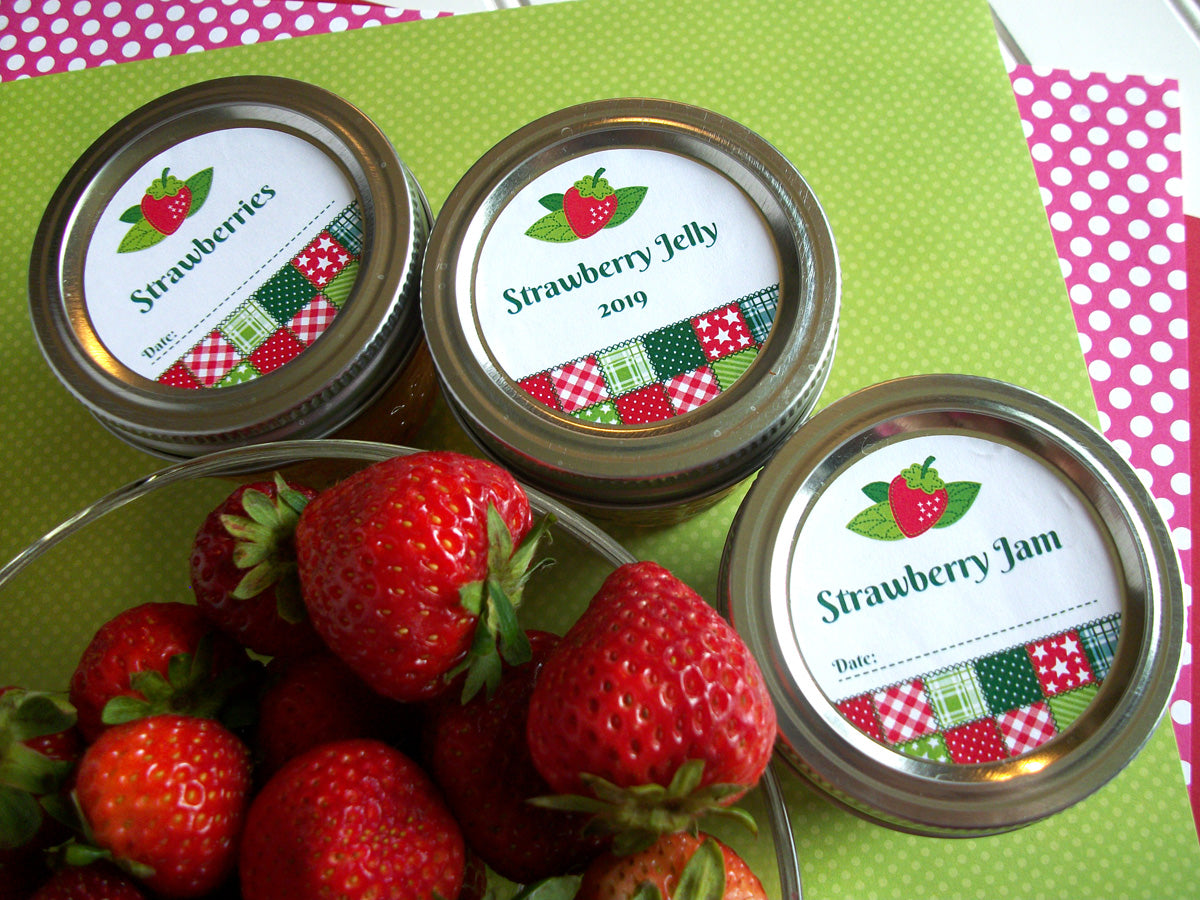 Country Quilt Strawberry Jam & Jelly Canning Jar Labels | CanningCrafts.com