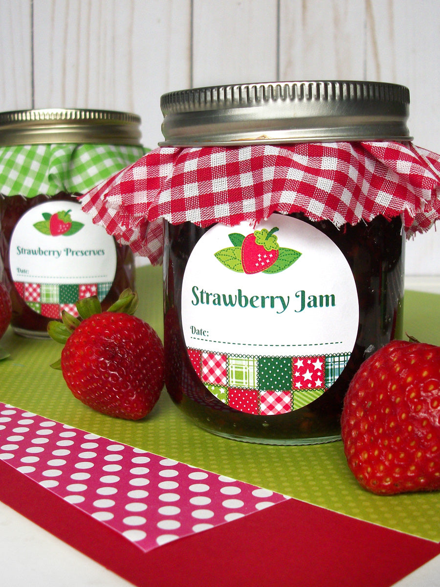 Country Quilt Strawberry Jam Canning Labels | CanningCrafts.com