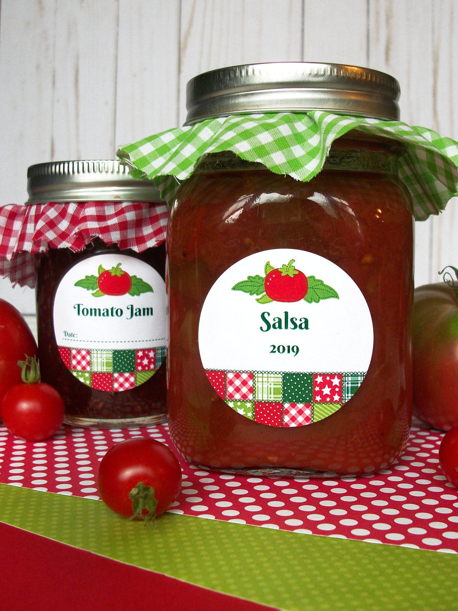 Country Quilt Tomato Jam & Salsa Canning Jar Labels | CanningCrafts.com