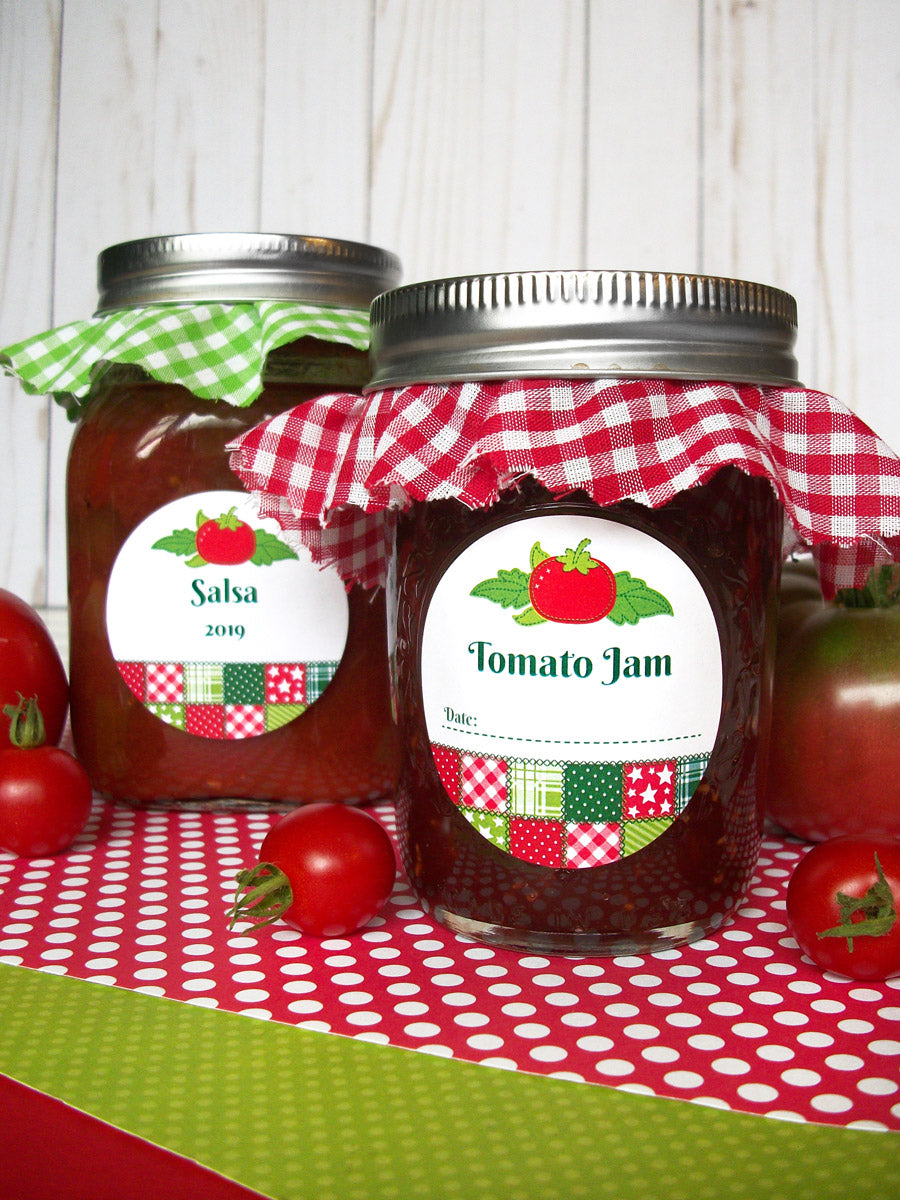 Country Quilt Tomato Jam & Salsa Canning Labels | CanningCrafts.com