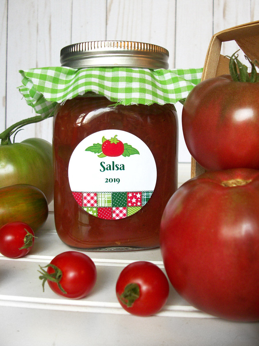 Country Quilt Tomato Salsa Canning Jar Labels | CanningCrafts.com