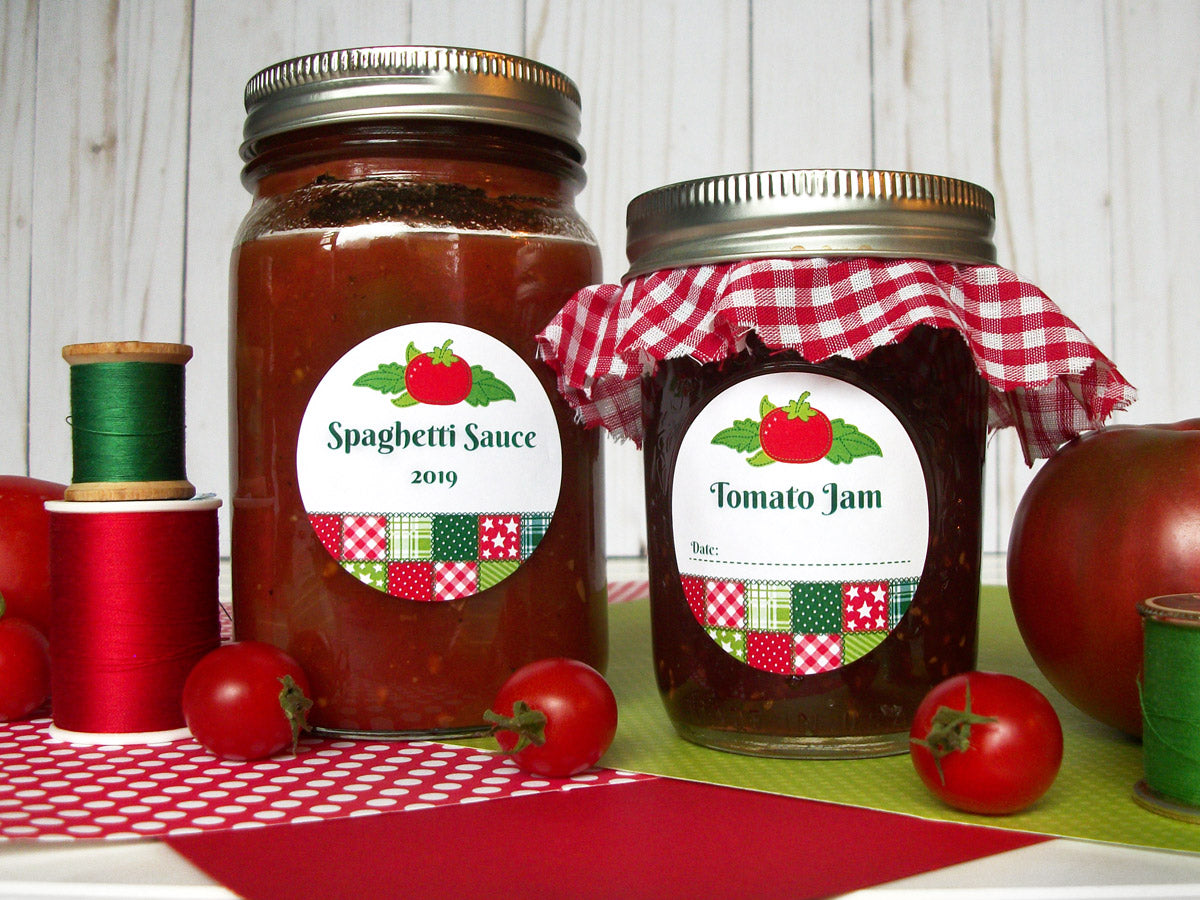 Country Quilt Tomato Jam & Spaghetti Sauce Canning Labels | CanningCrafts.com