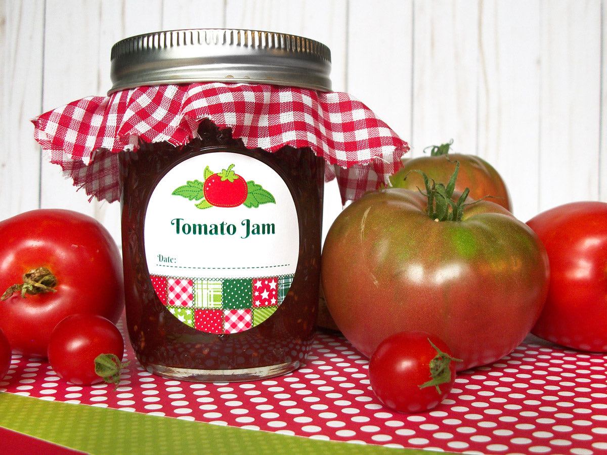 Country Quilt Tomato Jam Canning Labels | CanningCrafts.com