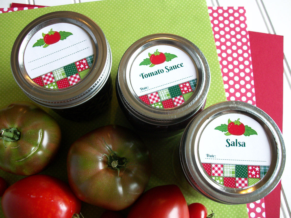 Country Quilt Tomato Sauce & Salsa Canning Jar Labels | CanningCrafts.com