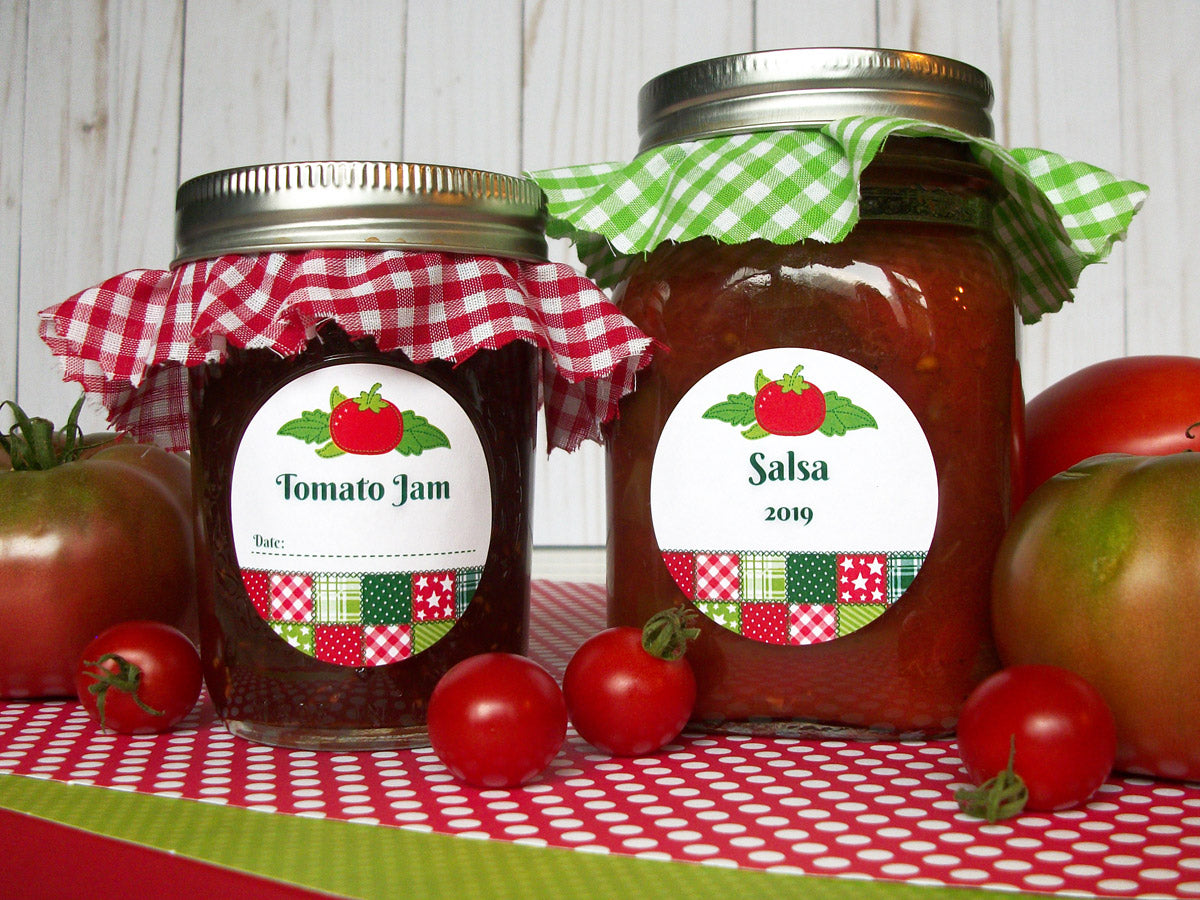 Country Quilt Tomato Jam & Salsa Mason Canning Jar Labels | CanningCrafts.com