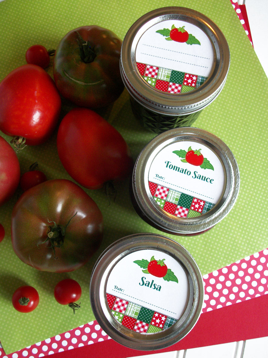 Country Quilt Tomato Mason Canning Jar Labels | CanningCrafts.com