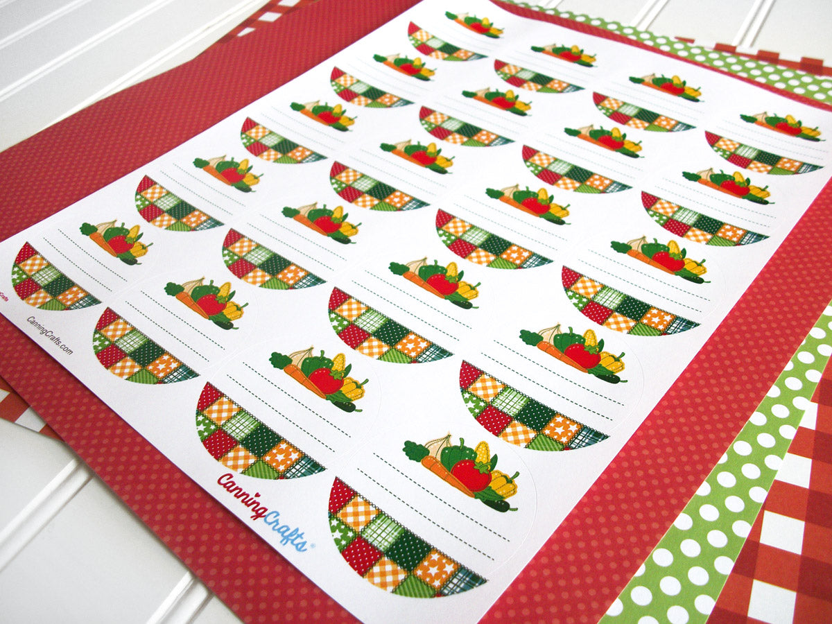 Country Quilt Vegetable Canning Labels | CanningCrafts.com